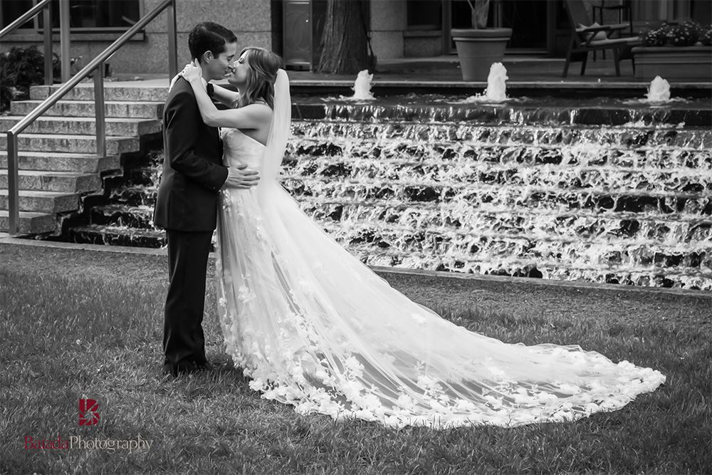 Courtyard at the Logan Hotel, Bride and Groom Black and white, first look